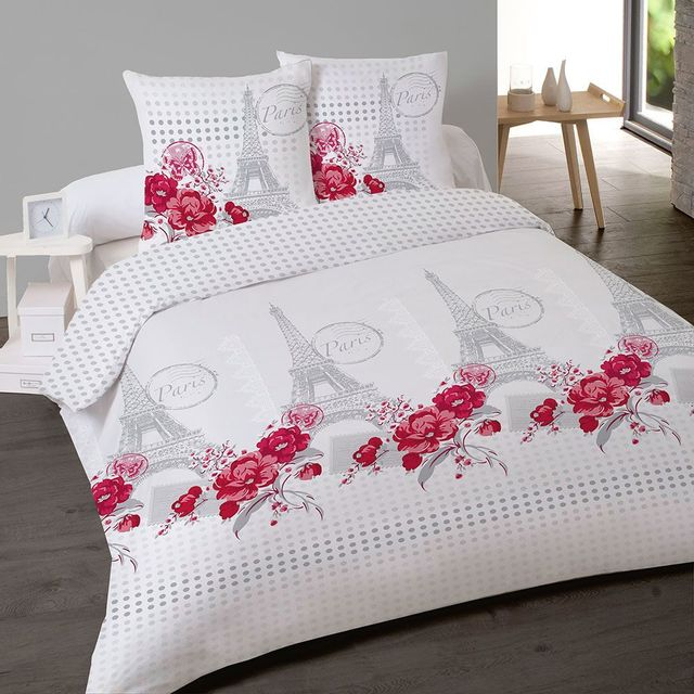les douces nuits de ma housse de couette 240x260 2 taies souvenir de paris blanc rose. Black Bedroom Furniture Sets. Home Design Ideas