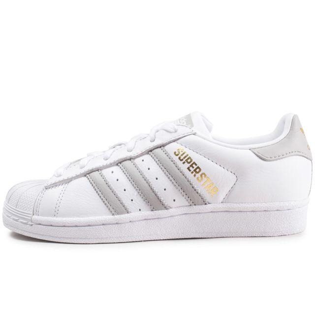 26ab3b3215f Adidas - Superstar Blanche Et Grise Femme - pas cher Achat   Vente ...