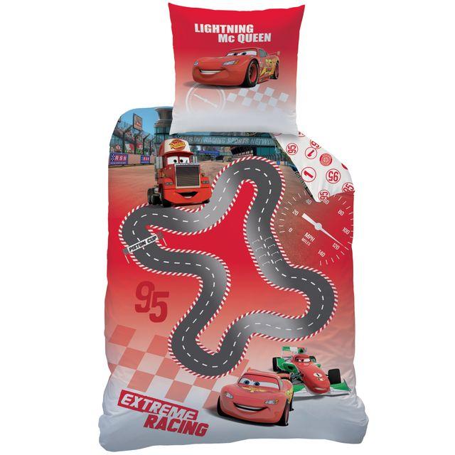 Cars housse de couette circuit 140x200 taie 63x63 enfant 100 coton rouge 140cm x 200cm - Housse de couette cars 140x200 ...