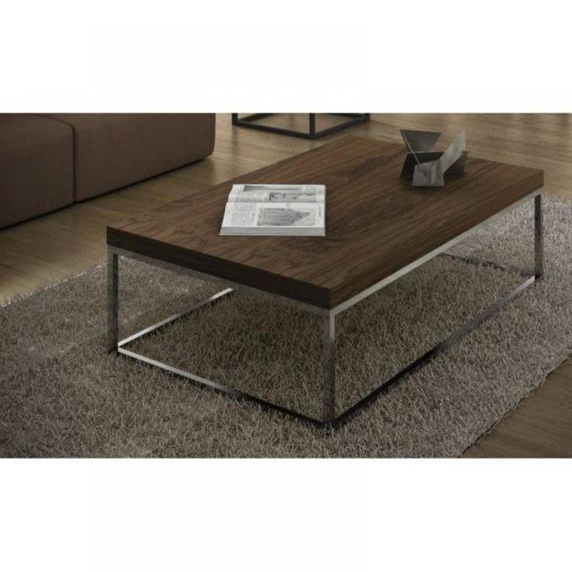 Inside 75 Prairie table basse 120cm rectangulaire en noyer piétement métal chromé