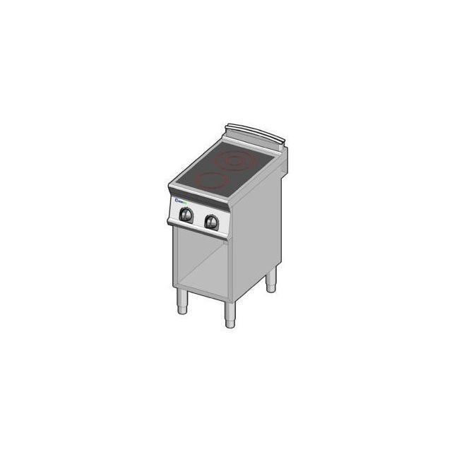 Materiel Chr Pro Fourneau sur meuble électrique vitrocéramique sur placard - 2 plaques 4,3 kW - gamme 700 - Tecnoinox - 700