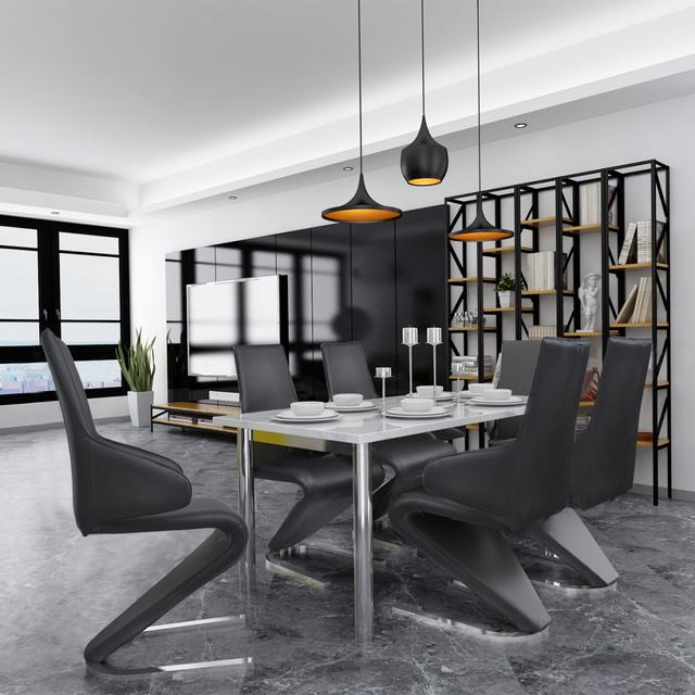 Vidaxl Chaises de salle à manger Cantilever 6 pcs Noir cuir artificiel