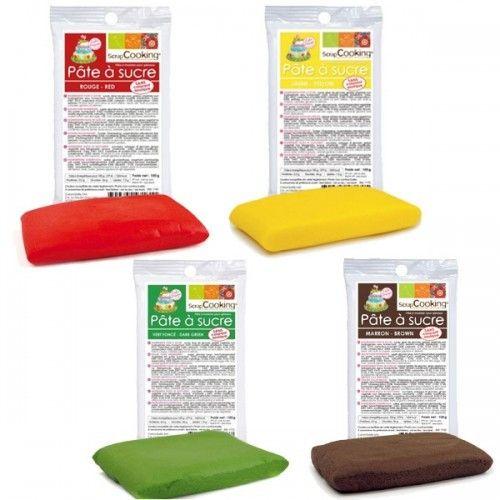 Scrapcooking 4 Pâtes à sucre 100 g : rouge, vert, marron, jaune