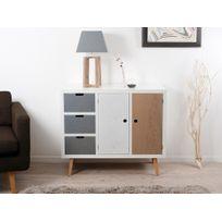 Axe Design - Buffet bas en bois 2 portes 3 tiroirs L100cm Evan