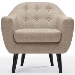 fauteuil scandinave fidelio tissu beige pas cher achat vente fauteuils rueducommerce. Black Bedroom Furniture Sets. Home Design Ideas