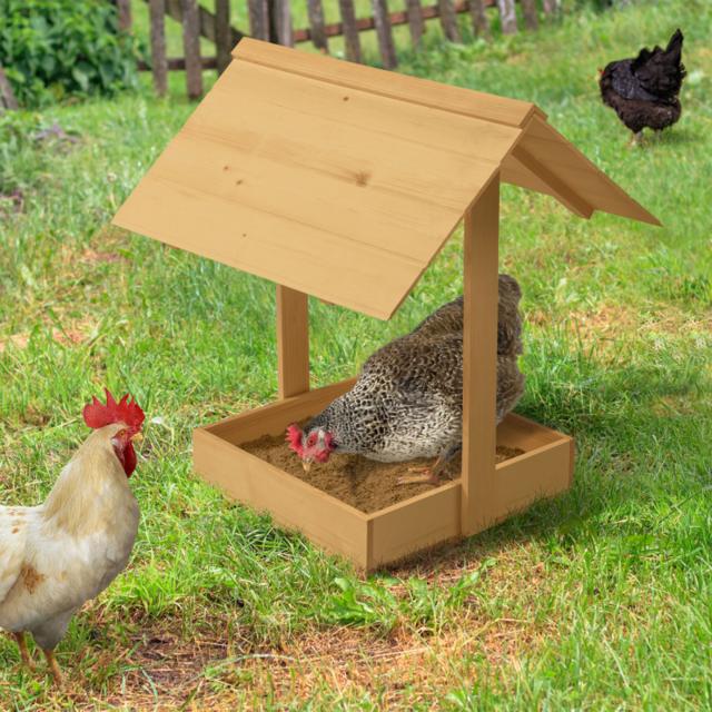 Idmarket Bain de poussière pour poules bac en bois antiparasites avec toit