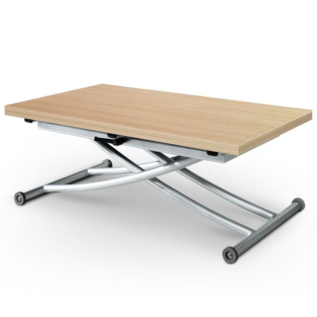 MENZZO Table basse relevable Carrera Chêne clair