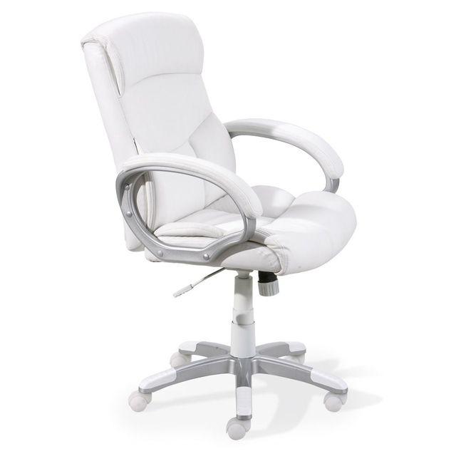 Comforium Fauteuil de bureau ergonomique coloris blanc design