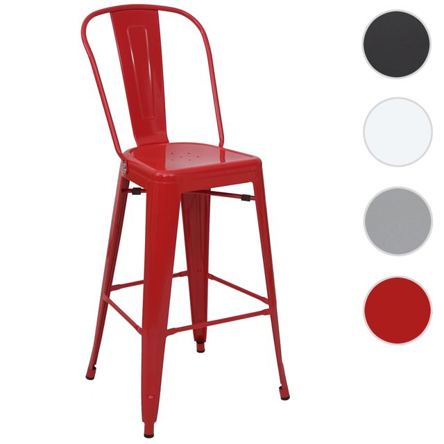 Mendler tabouret de bar Hwc-a73, chaise de comptoir, métal, empilable, design industriel ~ rouge