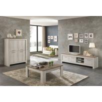 Modern salon - Table basse carré Padova chêne blanchi/chêne clair
