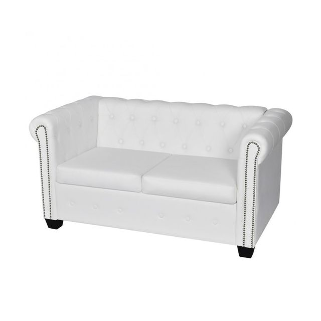 Rocambolesk Superbe Canapé Chesterfield de 2 places Blanc neuf