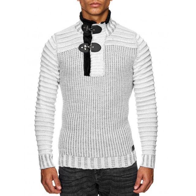 nouvelles images de meilleure qualité gamme de couleurs exceptionnelle Beststyle - Pull a col haut d hiver homme blanc epais ...