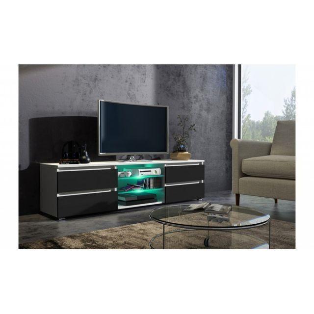Mpc Meuble tv 150 cm blanc mat et façade noir laquée