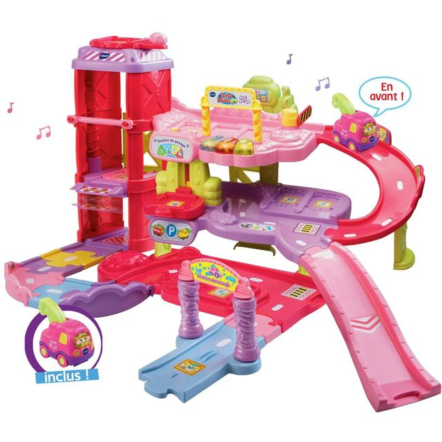Vtech tut tut bolides maxi garage ducatif rose yann - Garage educatif tut tut bolides rose ...