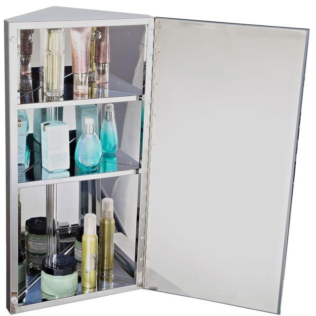 Homcom armoire miroir rangement toilette salle de bain - Meuble d angle pour salle de bain ...