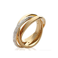 Collection Zanzybar - Bague alliance 3 anneaux en plaqué or et brillants Modèle Sharon Taille - 50