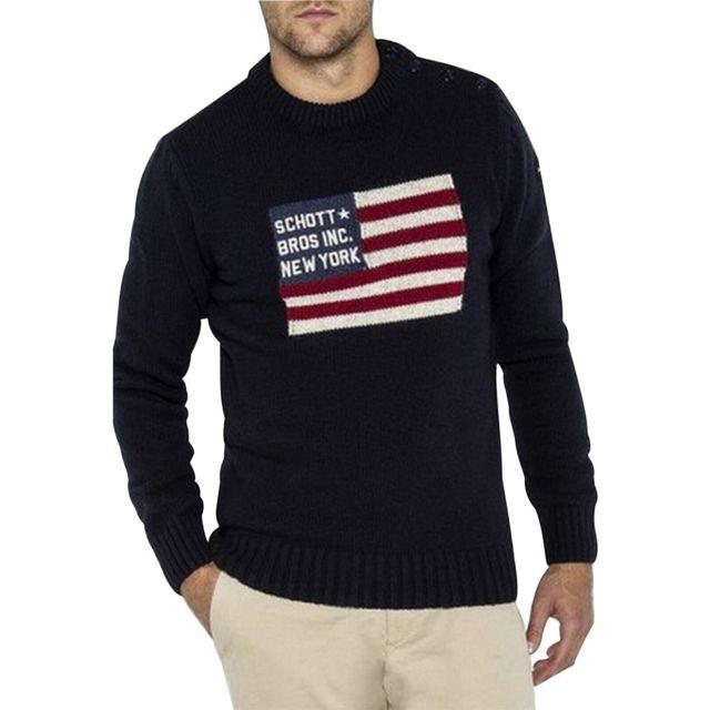 Schott - Pull col rond motif drapeau Bleu marine - pas cher Achat   Vente  Pull homme - RueDuCommerce 510e78fe9ee3