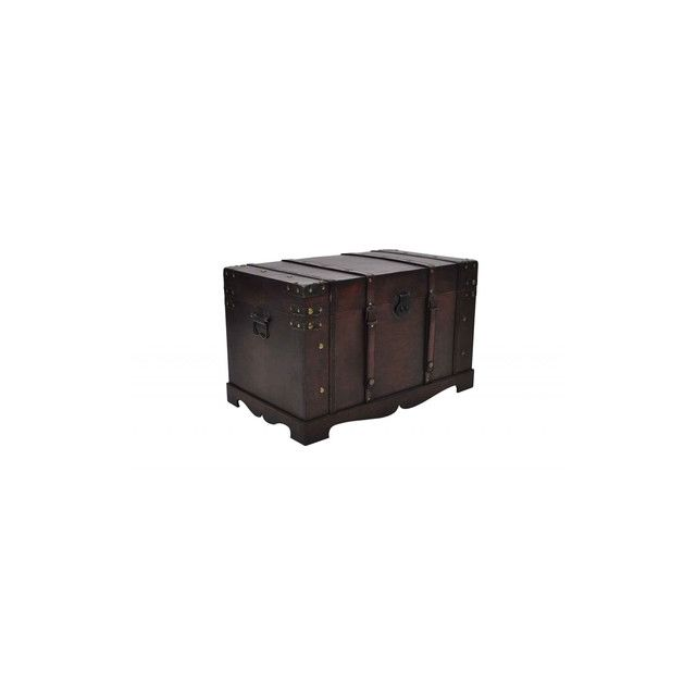 Destockoutils - Coffre en bois brun type pirate exotique petit modele Blanc - 66cm x 38cm