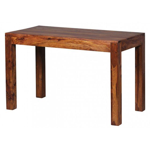 COMFORIUM Table à manger 120 cm en bois massif coloris sheesham