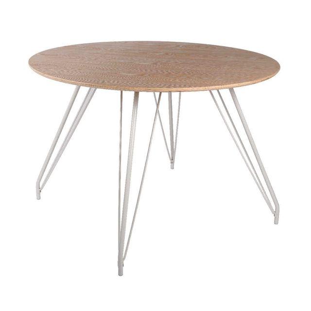 Kaligrafik Table de salle à manger en bois massif et pieds métal D.110cm Ulset
