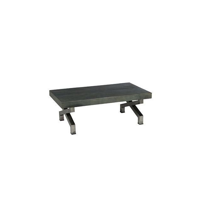 Table basse 112x60x38 en métal et bois marron foncé