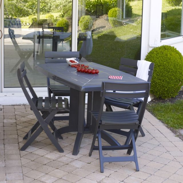 Grosfillex - Salon de jardin vega 4 couverts anthracite - pas cher ...
