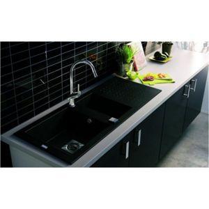 g n rique evier de cuisine reversible encaster 1 cuve 1 2 en min rale composite gris beton. Black Bedroom Furniture Sets. Home Design Ideas