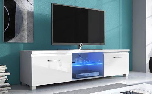 Comfort Home Innovation - Meuble de télévision Led, Meuble de Salon, Blanc Mate et Blanc Laqué, Dimensions: 150x 40 x 42 cm de p