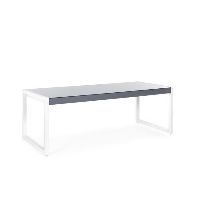 BELIANI Table de jardin en aluminium gris et blanc 210 x 90 cm BACOLI - noir