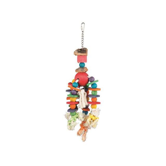 Trixie Jouet bois avec corde 35cm - Pour oiseau