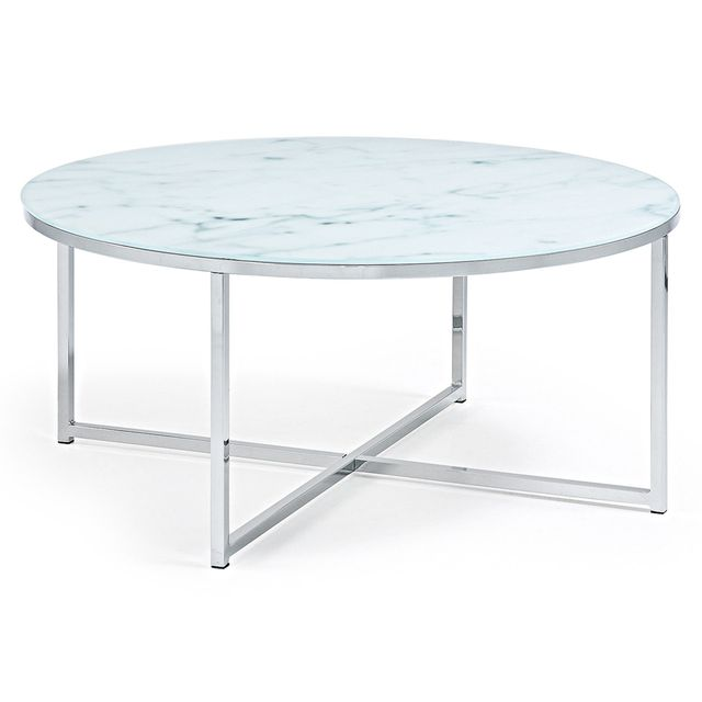 Kavehome Table basse Divid 80cm, verre effet marbre