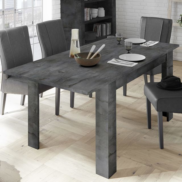 Kasalinea Table avec rallonge 140 cm gris anthracite Mabel