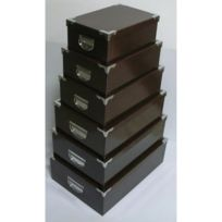 Atmosphera - 6 Boîtes de rangement empilables Uni - Chocolat