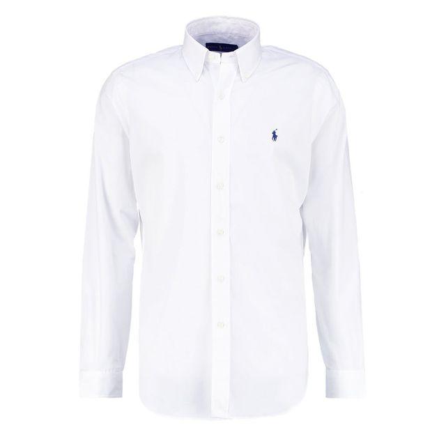 ralph lauren chemise blanche unie slim fit pas cher achat vente chemise homme rueducommerce. Black Bedroom Furniture Sets. Home Design Ideas