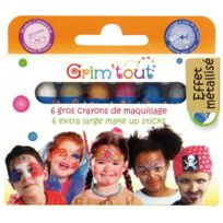 Grim'TOUT - gros crayons de maquillage métallisés - boite de 6