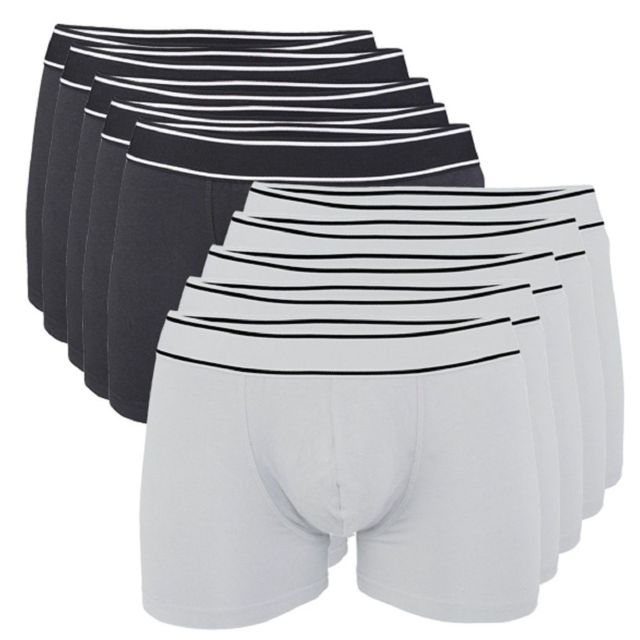 Kariban Lot 10 Boxers shorty Homme K800 - coton - noir et blanc