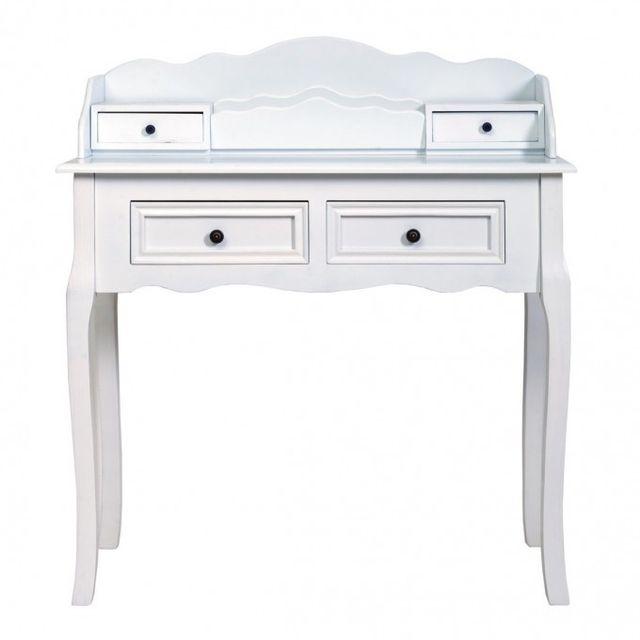 Mobili Rebecca Coiffeuse Bureau 4 Tiroirs Bois Blanc Design Francais Classique Chambre Salon