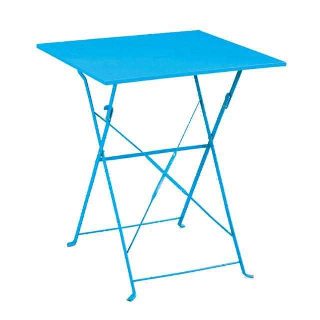Ozalide - Table de jardin carrée Provence 60 x 60 cm - bleu ...