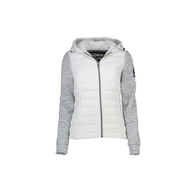 Superdry Sweat à Capuche Storm Hybrid White Grey Blanc