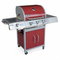 ALICE'S GARDEN - Barbecue gaz inox 14kW - Richelieu Rouge - Barbecue 3 brûleurs + 1 feu latéral, côté grill et côté plancha