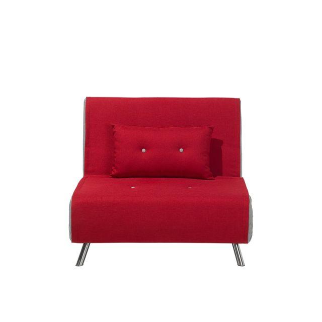 Canapé-lit en tissu rouge FARRIS