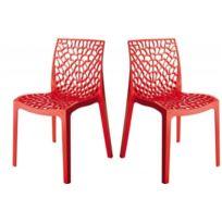 Declikdeco - Lot de 2 Chaises Design Rouge Gruyer Opaque