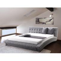 Beliani - Lit design en tissu - lit double 160x200 cm - gris - sommier inclus - Lille