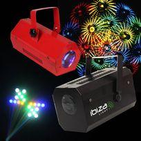 Ibiza Light - Pack soirée 2 Jeux de lumière Effet MoonFlower Gobo Lcm002 + Jeu 56 Leds Rvba Rouge Lcm003