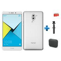 HONOR - 6X - Silver + Enceintes bluetooth M-312 Muse Noir + Carte Micro SDHC 32 Go EVO+ + Perche à Selfie filaire pour smartphone et iPhone - Noire