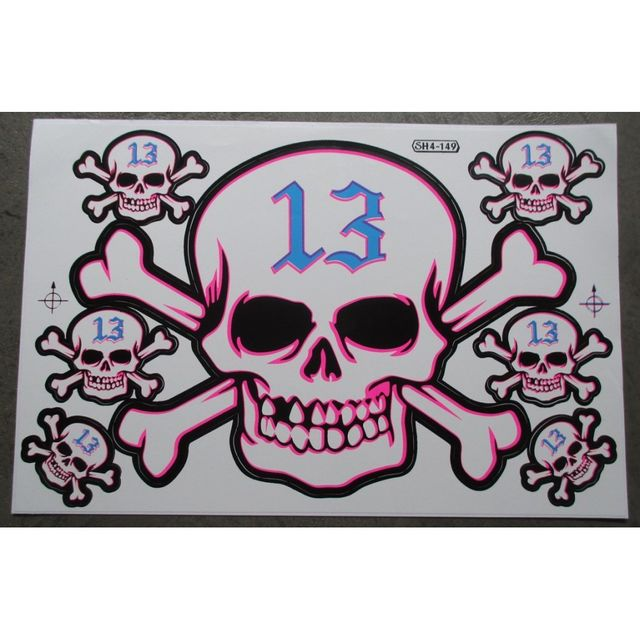 Universel Planche de stickers crane 13 bleu autocollant pirate biker