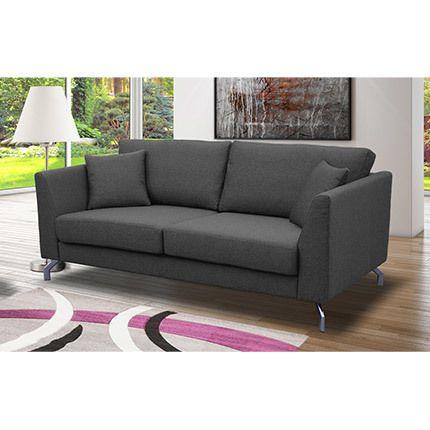 Canapé 3 places fixes pieds métal chromé en tissu gris - Ines