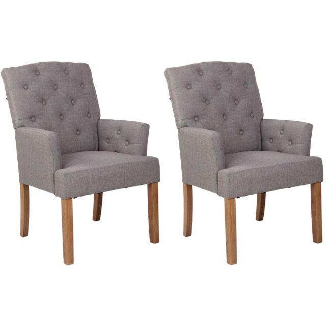 La Chaiserie Lot de 2 fauteuils capitonnés Constantin salle a manger tissu antique clair gris