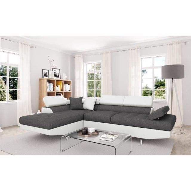 Canape Sofa Divan Futura Canape D Angle Gauche Convertible 4 Places Tissu Gris Et Simili Blanc Contemporain L 272 X P 192 Cm