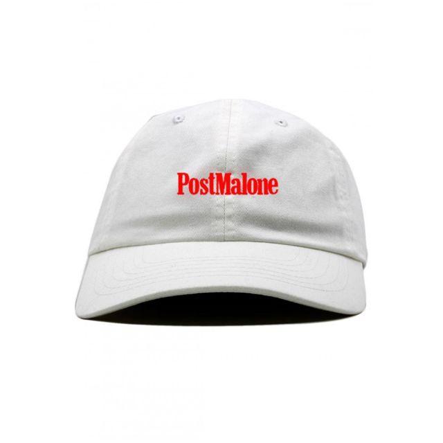 96759431269 Magiccustom - Post Malone - Casquette Dad Cap Blanche Red Font - pas ...